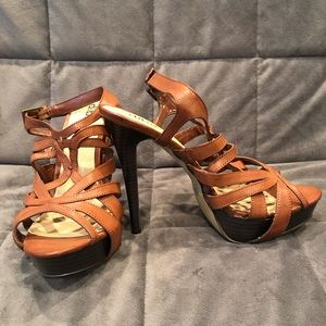 Diba Brown Strappy Platform Heels
